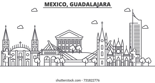 Mexico, Guadalajara architecture line skyline illustration. Linear vector cityscape with famous landmarks, city sights, design icons. Landscape wtih editable strokes