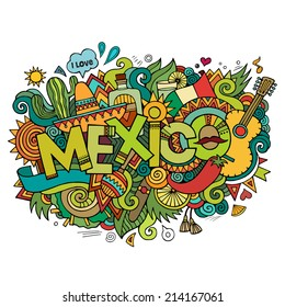 Mexico hand lettering and doodles elements background. Vector illustration