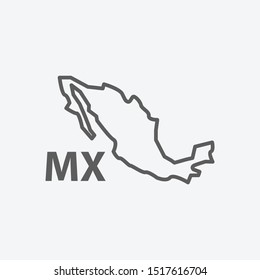 Mexico icon line symbol. Isolated vector illustration of  icon sign concept for your web site mobile app logo UI design