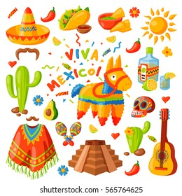 Mexico icons carnival holidays vector party festival symbols and travel design elements illustration. Mexican food and other sign