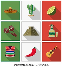 Mexico icons set, mexican symbols. Cactus and chili pepper, tequila and guitar, travel and latino. Vector illustration