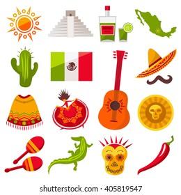 Mexico icons set. Sun, Moai  pyramid, tequila, Mexico map, cactus, guitar, peyote, sombrero, moustache, poncho, dancing girl, coin, bean, chili, crocodile, maracas, Mexico flag. Vector Mexican icons.