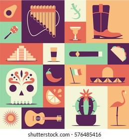 Mexico icons set. Sun, Moai pyramid, tequila, Mexico map, cactus, guitar, peyote, sombrero, chili, maracas, Mexico flag, skull. Vector Mexican poster