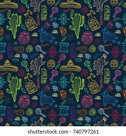 Mexico illustrations collection, colorful elements for design, seamless background, pattern, Vector