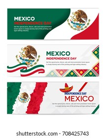 Mexico independence day abstract background design coupon banner and flyer, postcard, celebration vector illustration landscape
