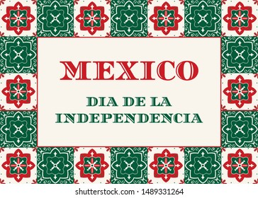 Mexico Independence Day (Dia de la Indepencia) illustration vector. Traditional Puebla ceramic tile ornament pattern. Talavera design for fiesta poster, carnival flyer or mexican party poster.
