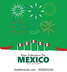"""Mexico independence day illustration with its national flags and fireworks. The Spanish text in the picture is translated as """"The Cry of Dolores"""", a tradition held on independence day celebration."""
