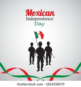 Mexico Independence Day,16 September,Waving mexican flags and balloons isolated on white background.Vector illustration.
