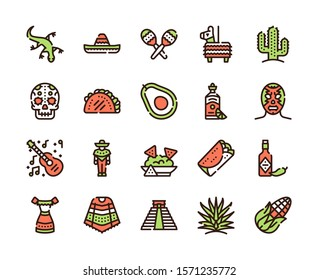 Mexico items color linear icons set. Mexican culture concept. Muerto, sombrero, lucha libre symbols pack. Pinata, tekila, taco design elements. Maracas, guitara, poncho. Isolated vector illustrations