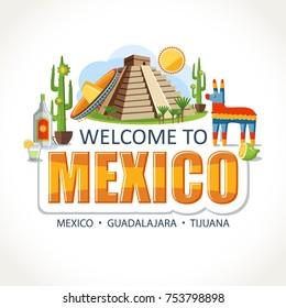 Mexico lettering sights symbols landmarks culture illustration