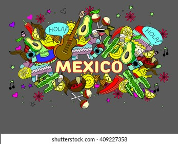 Mexico line art design vector illustration. Separate objects. Hand drawn doodle design elements.