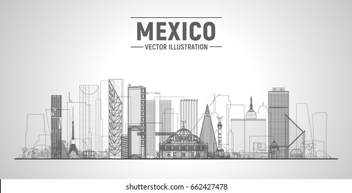 Mexico line city skyline on a white background. Flat vector illustration. Business travel and tourism concept with modern buildings. Image for banner or web site.