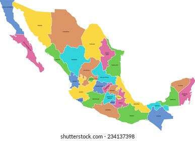 Mapa Mexico Estados Stock Vectors Images Vector Art Shutterstock