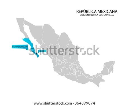 Mexico Map Baja California Sur Stock Vector Royalty Free 364899074