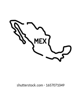 Mexico map black line icon. Border of the country. Pictogram for web page, mobile app, promo. UI UX GUI design element. Editable stroke.