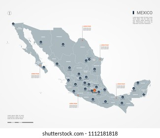 Mexico map with borders, cities, capital Mexico City and administrative divisions. Infographic vector map. Editable layers clearly labeled.