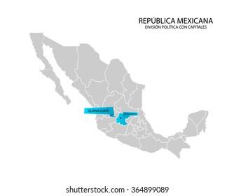 Mexico map, Estado de Guanajuato