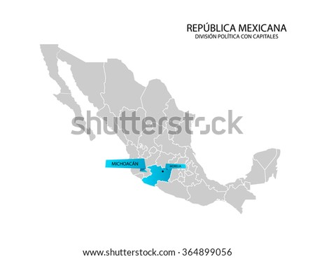 Mexico Map Estado De Michoacan Stock Vector Royalty Free 364899056