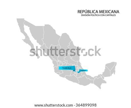 Mexico Map Estado De Tlaxcala Stock Vector Royalty Free 364899098