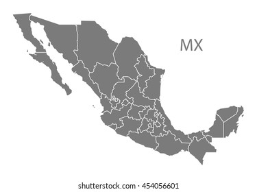 Mexico Map Federal States Grey Stock Vector (Royalty Free) 454056601 ...