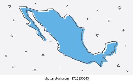 Mexico map flat design vector