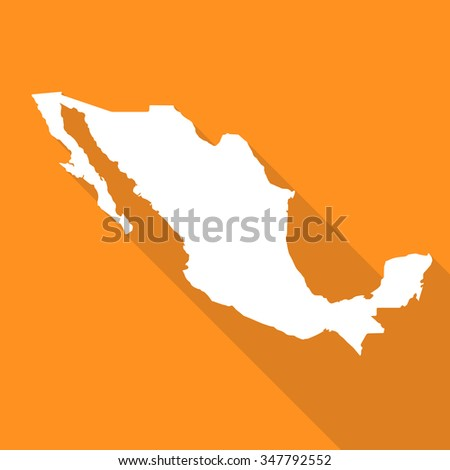 Mexico Map Flat Simple Style Long Stock Vector Royalty Free