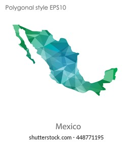 Mexico map in geometric polygonal style.Abstract gems trangle,modern design background. Vector illustration EPS10