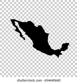 Mexico map isolated on transparent background. Black map for your design. Vector illustration, easy to edit.