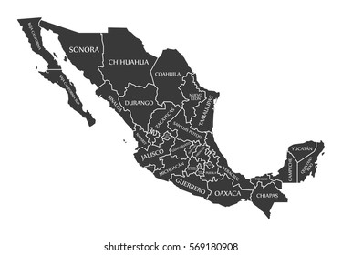 Mexico Map labelled black illustration