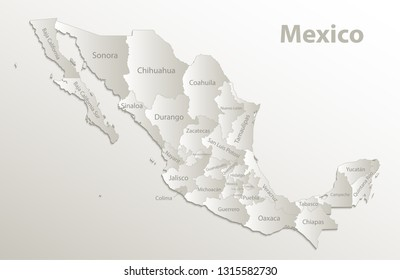 Mexico map, new political detailed map, separate individual states, with state names,  card paper 3D natural vector
