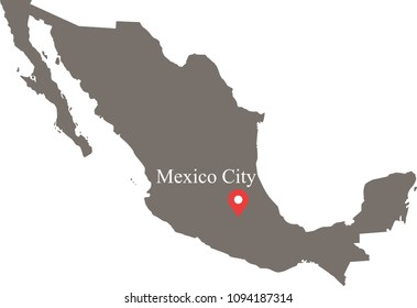 Mexico map vector outline illustration with capital location and name, Mexico City, in gray background. The borders of provinces or states are not included on this map for aesthetic appeal.