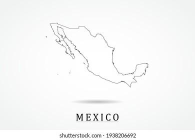 Mexico Map- World Map International vector template with thin black outline or outline graphic sketch style and black color isolated on white background - Vector illustration eps 10