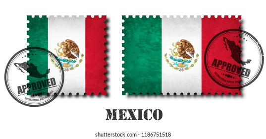 Mexico or mexican flag pattern postage stamp with grunge old scratch texture and affix a seal on isolated background . Black color country name with abrasion . Square and rectangle shape . Vector .