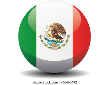 Mexico national circle button flag background texture. Vector illustration.