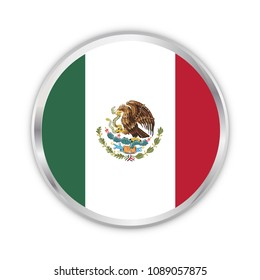 mexico national circle flag vector