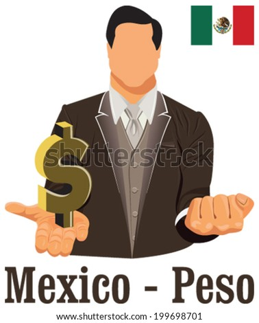 Mexico National Currency Mexican Peso Symbol Stock Vector Royalty
