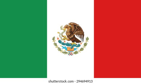 Mexico national flag. Vector EPS8