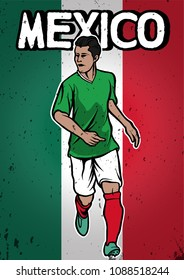 Mexico National Football Team with Flag Background