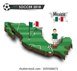 Mexico national soccer team . Football player and flag on 3d design country map . isolated background . Vector for international world championship tournament 2018 concept .