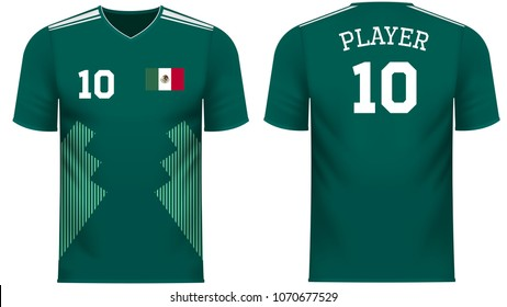 Mexico  national soccer team shirt in generic country colors for fan apparel.