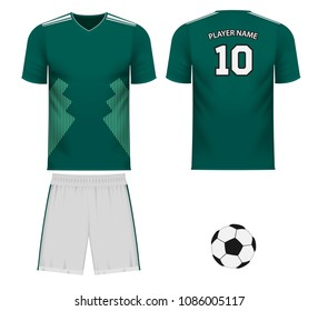 Mexico national soccer team shirt in generic country colors for fan apparel