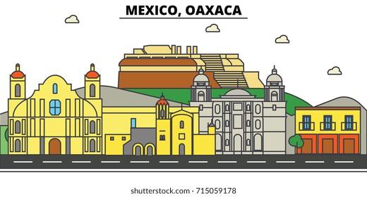 Mexico, Oaxaca. City skyline, architecture, buildings, streets, silhouette, landscape, panorama, landmarks, icons. Editable strokes. Flat design line vector illustration concept