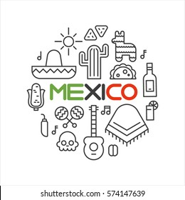 mexico object lin icons vector illustration flat design