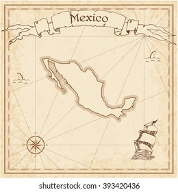 Mexico old treasure map. Sepia engraved template of Mexico treasure map. Stylized Mexico treasure map on vintage torn paper.