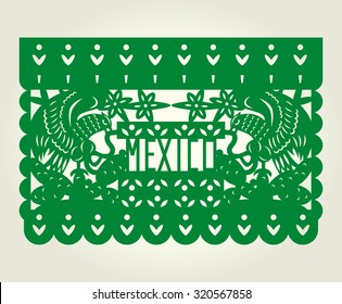 Mexico party paper-cut flag banner with eagle devouring a snake stand on a cactus