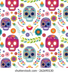 Mexico pattern with skull, flowers and ethnic elemens