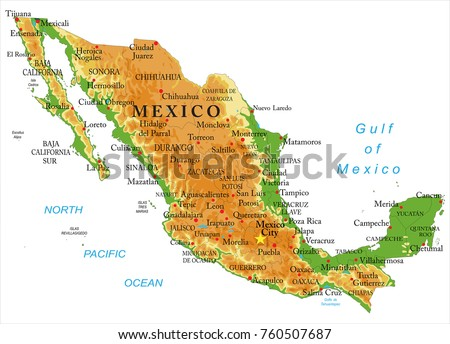 Mexico Physical Map Stock Vector (Royalty Free) 760507687 - Shutterstock