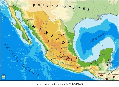 Mexico Physical Map Images, Stock Photos & Vectors | Shutterstock