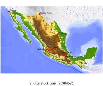 Topographical Map Mexico Images, Stock Photos & Vectors ...