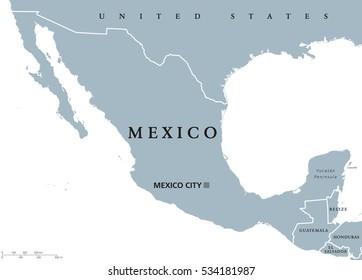 Mexico Map Capitals.Mexico Political Map Capital Mexico City Stock Vector Royalty Free